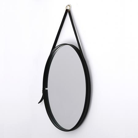 Leather Mirror by Jacques Adnet