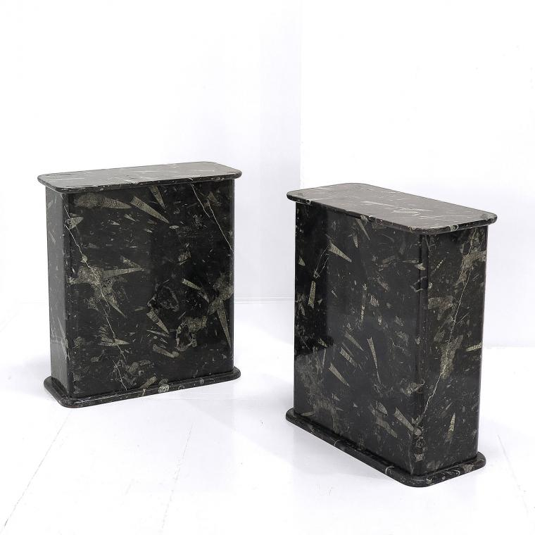 Pair of Fossil Marble Plinths