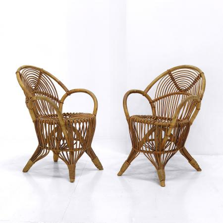French Cane Armchairs