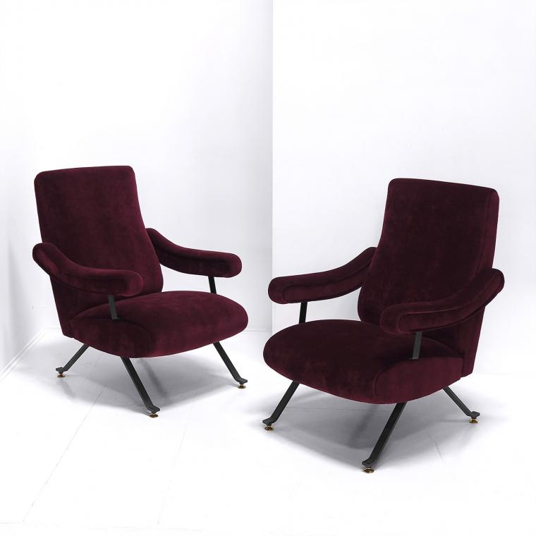 Reclining Lounge Chairs by Nello Pini
