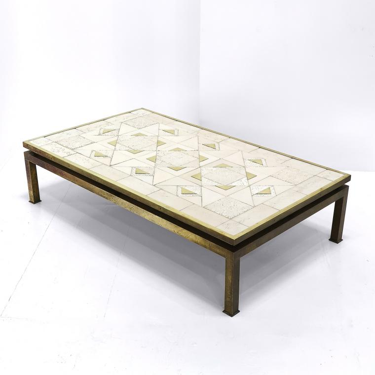 Brass Coffee Table by Tommaso Barbi